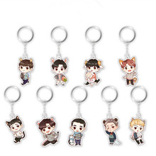 Korea POP EXO 5th Album Bag Keychain Kai DO SUHO Cartoon Q Stryle Key Ring Car Jewelry Chaveiro Llaveros C122(China)