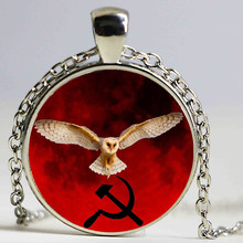 Red background eagle Art Glass Cabochon Necklace For Man Woman Fine Jewelry as Gifts(China)