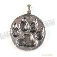 Fashion 30pcs/lot New Charms Round Tiger Claw Tag Alloy Antique Silver Plated Pendant Finding Fit Jewerly DIY 28*21*2mm 142662