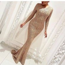 Sparkly Crystal Sheer Long Sleeve Mermaid Evening Dress 2017 Applique Tulle Beading O Neck Custom Made Prom Dresses New Arriva