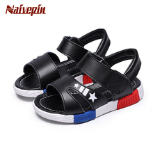 Kids Boys summer sandals small boy's sandal for children girls baby 2017 child PU leather flip flops tide beach slides shoes