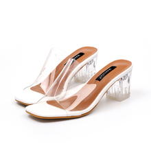 New fashion Women's Slippers Simple and transparent glass plastic crystal with square head toe thick with cold slippers