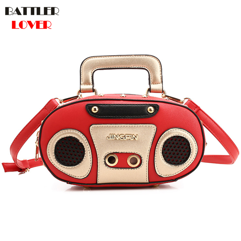 BATTLERLOVER Rock Style Retro Radio Shape Handbags Women Shouder Bag PU Leather Womens Fashion Rivet Bag Korea Punk Tote Bag