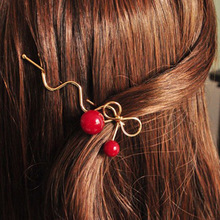 LNRRABC Girl Red Cherry Shaped Bowknot Hairpin Twist Hair Clip Hair Pins Barrette Headwear Jewelry Gift acessorio para cabelo(China)