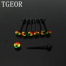 wholesale body jewelry rasta leaf acrylic tongue ring 14G 10pcs surgical Stainless Steel piercing tongue barbell free shipping