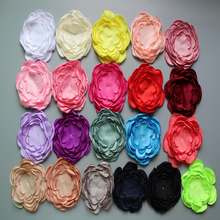 "2015 latest Burned edage Flower 4"" Multi Petal Hair Flower for DIY Hair Accessories 20colors in stock 20pcs/lot Free Shipping(China)"