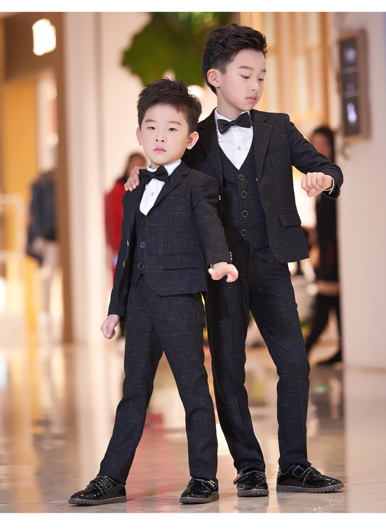 Boys Suits For Wedding Prom Suits Jacket Vest Shirt Pants Tie 5pcs Clothing Set Kids Boy Costume Dress Suits Blazer Clothes F187