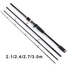 TOMA 2.1m 2.4m 2.7m 3.0m 100% Carbon Fiber Rod Spinning Fishing Rods Casting Travel Rod 4 Sections Fast Action Fishing Lure Rod(China)