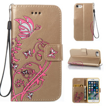Color Butterfly Flowers Pattern Faux Leather Flip Case with Stand for iPhone 7 4.7(China)
