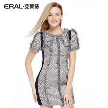 ERAL 2016 Spring Women's Slim Short-sleeve Tweed Dress ERAL36015-ECAA