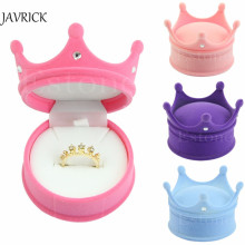 JAVRICK New Crown Velvet Ring Display Box Ear Stud Necklace Jewelry Case Container Wedding Ring Gift Case Earrings Storage