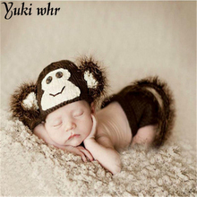 2017 Lovely Animal Designs Crochet Baby Hat Beanie Photo Photography Props Knitted Newborn Costume Monkey 1set