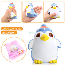 2017 New Arrival Penguin Baby Doll Squishy Slow Rising Jumbo Cartoon Phone Straps Pendant Charms Scented Bread Kid Toy Gift