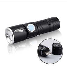 USB Handy Powerful  LED Flashlight Rechargeable Torch usb Flash Light Bike Pocket LED Zoomable Lamp Black