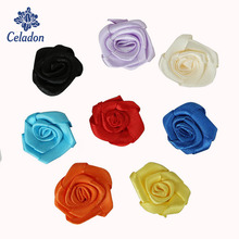 25pcs 30mm Artificial Mini Silk Rosettes Fabric Flowers Head Making Handmade Satin Ribbon Roses DIY Craft For Wedding