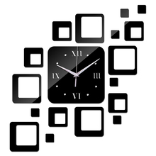 new 2015 direct selling  led acrylic wall clock 17 squares Quartz mirror Modern home decoration diy stickers freeshipping