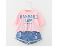 Girl set summer 2017 new large middle cow denim shorts two sets of cotton Korean children's clothing letter shirt and short pant