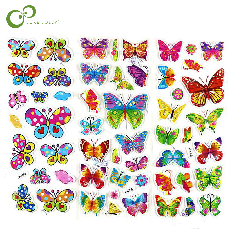 5sheets 3d Colorful Butterfly Classic Cartoon Pvc Foam Kids Favor Stickers Gifts