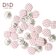 D&D 18pcs/lot Round Metal&Fabric with Colorful Dot Button Fabric Covered Buttons For Sewing Garment Supplies 22mm/20mm/15mm(China)