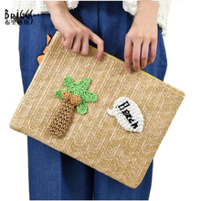 BRIGGS Summer Day Clutches Hand Woven Straw Hand Bag Fashion Women Handbags,Coconut Trees And Lobster Decoration Envelopes Bag