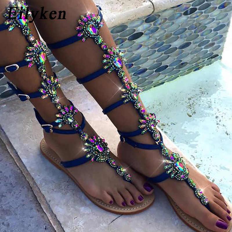 aeeedaf06c8f61 Eilyken 2019 New Summer Flats Sandal Gladiator Gold Blue Crystal Knee High  Buckle Strap Woman Boots
