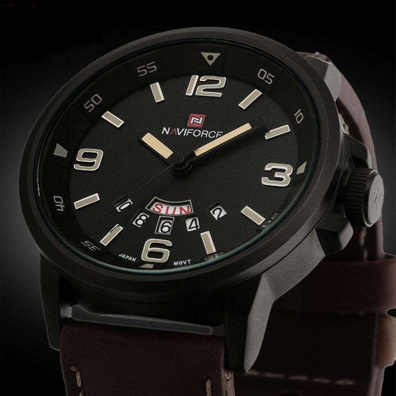 2017 Brand NAVIFORCE Watches Men Casual Mens Analog Quartz Date Sport Army Leather Wrist Watch Waterproof Watches Reloj Hombre<br><br>Aliexpress