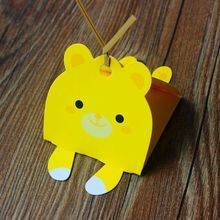 Cute animals,candy packaging box,Handmade soap box include twist tie (Yellow bear) 30pcs/lot