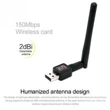 Computer PC Internet Networking Signal Receiver 150Mbps USB 2.0 WIFI Wireless Adapter Network Cards with Antenna(China)