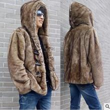 2017 Mens Casual Horn Button Hooded Fur Jackets Faux Mink Fur Outwears Fashion Winter Fur Coats Man-Made Fur Jacket S/5Xl K19