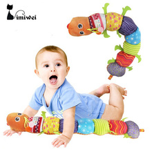 Hot Baby Mobile Musical Toys Caterpillar Rattle With Ring Bell Cartoon Animal Plush Baby Toys Educational For 0 to 3 years Baby(China)