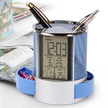 Multifunction 2017 Pen Pencil Holder Digital Calendar Alarm Clock Time Temp Function Metal Mesh For Home Desk Office Supplies(China)