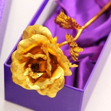 2016 NEW Creative Birthday Wedding gif,24k Golden Rose Lover's Flower Gold Dipped Rose,Artificial Flower Gold Painted Decoration(China)
