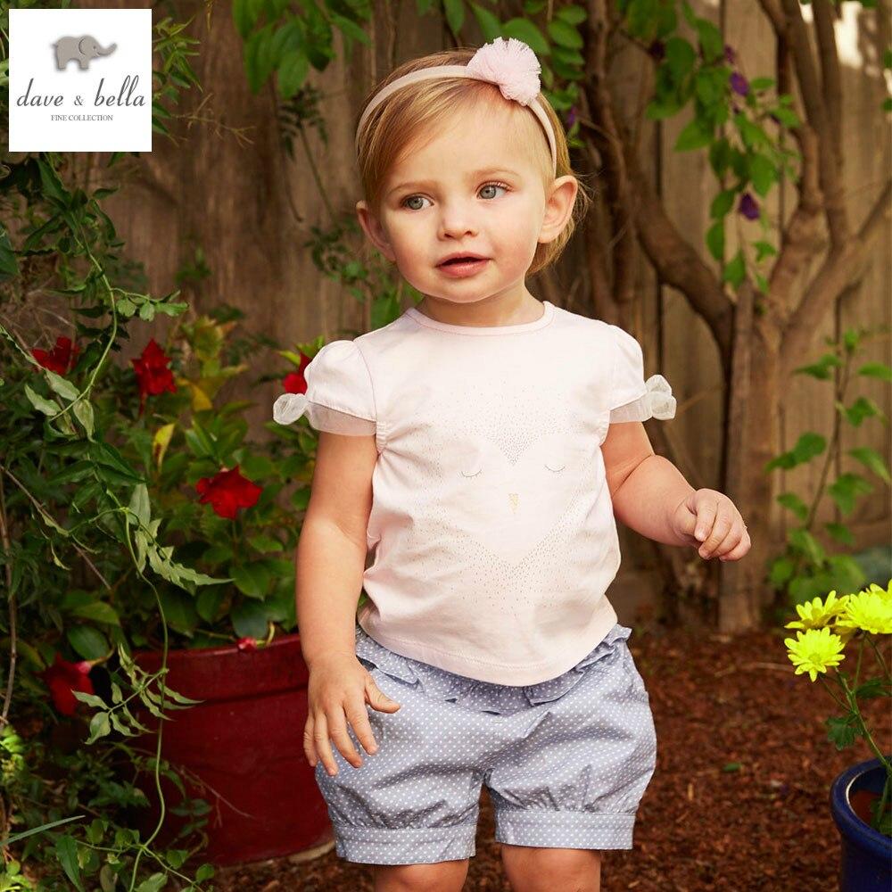 DB4886 dave bella summer baby girls pink clothing dot blue short sets child pink set infant clothes  kids sets baby costumes<br>