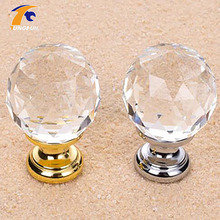 5PCS 30mm Round Clear Crystal Sparkle Diamond Cabinet Knobs And Handles Dresser Drawer Handles Door Knob(China)