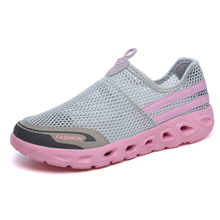 Buy 2018 New Summer Breathable Air Mesh Women Walking Shoes Man Outdoor Sport Shoes Woman Sneakers Travel Shoe Slip Flats for $18.81 in AliExpress store