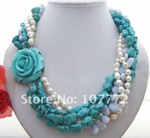 Charming! Sea Salt Pearl&coating Blue Semi-precious Stone&Blue Chalcedony Necklace free shipment
