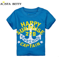 Short Sleeve T shirt For 1-6 Years Blue Color Cartoon Pattern Fashion Children Tees Kid Thin Short-sleeve Summer Boy Tshirts(China)