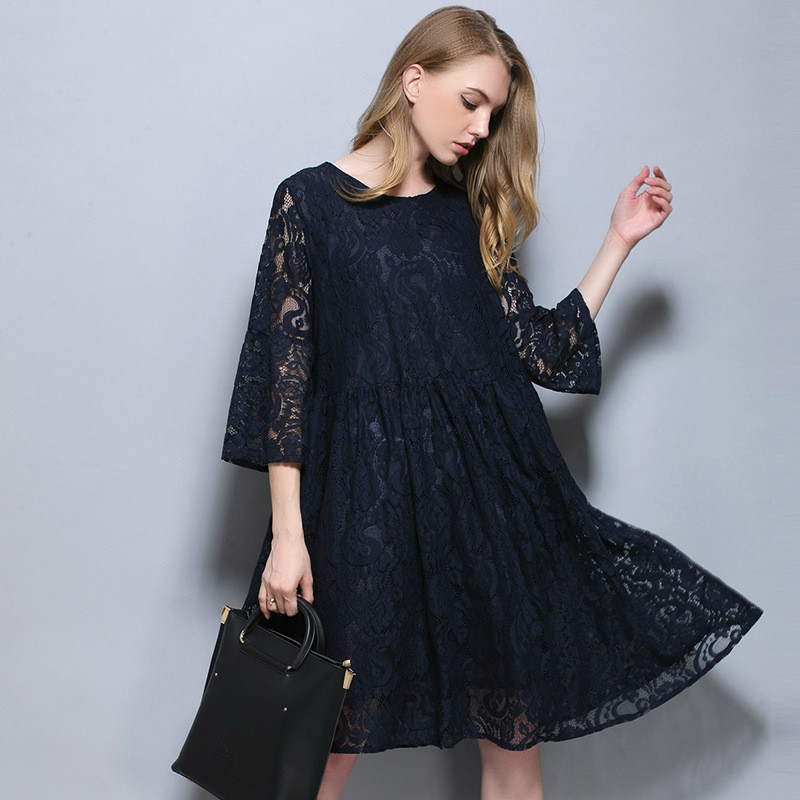 Spring Autumn European American Women Pregnant Clothing Grey/blue Lace Maternity Dresses Fashion Pregnancy Dress For age 25-35T<br>