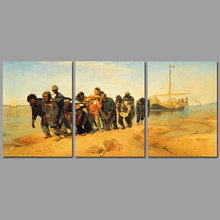 3pcs/set Volga River trackers decoration wall art pictures Russian painter Canvas Painting print for living room unframed