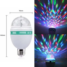 E27 RGB Bulb Spotlight Full Colour Auto Rotating KTV Lamp Crystal Stage Light Laser Party Bulb LED Colorful Indoor Lighting