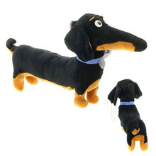 New Hot Toy Cartoon Dachshund Plush Black Sausage Buddy dog Toy Holiday Birthday Party Gifts for Kids 30*16 cm(China)