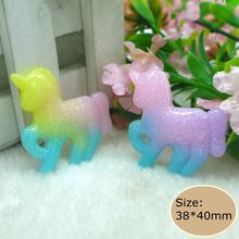 Kawaii Colorful Unicorn Flatback Resin Cabochon Craft For DIY mobile phone case headband supplies Decoration Scrapbooking(China)