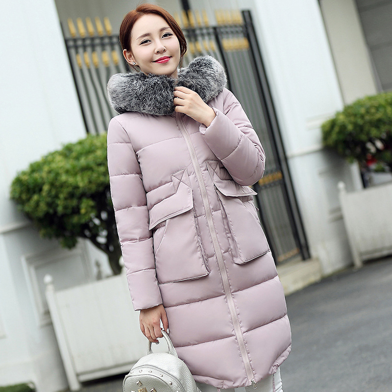 2017 American winter fashion slim temperament big fur collar hooded long feather padded jacket thickeningОдежда и ак�е��уары<br><br><br>Aliexpress
