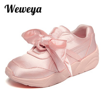Weweya Bow Tie Woman Casual Shoes Fashion Satin Bowknot Ladies Flats For Women Silk Moccasins Shoes Woman Zapatos De Mujer