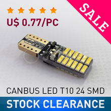 SALE Super bright LED T10 canbus no error 24 SMD 4014 car light 12V w5w auto cob clearance bulb door GLOWTEC(China)