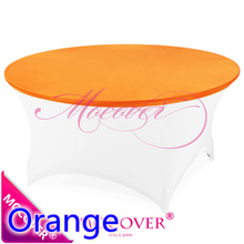 Orange spandex table topper cover fit for 5ft-6ft round tables,lycra table top cover for wedding,banquet and party decoration