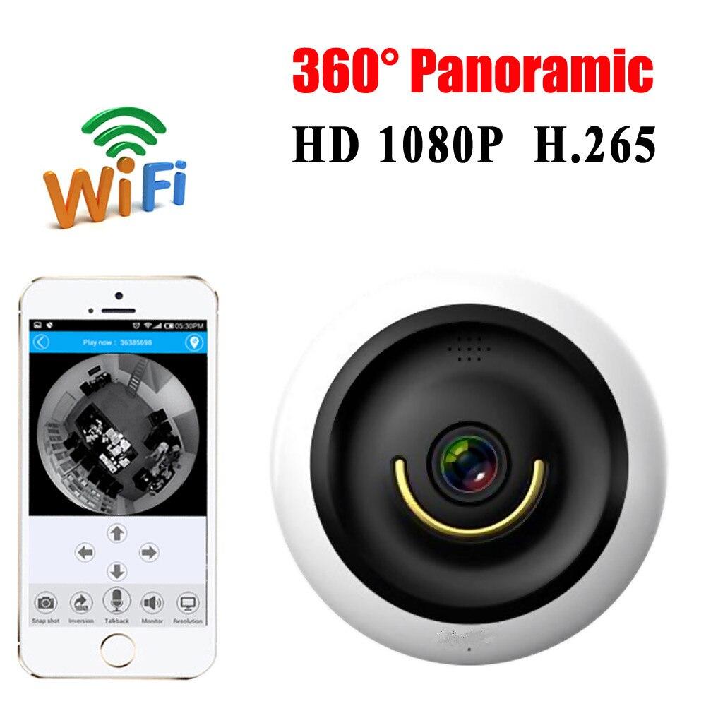 MIni Wifi VR Panoramic Camera HD 1080P Wireless IP Camera Home Security Surveillance System Camera H.265 Wi-fi 360 degree Webcam<br>