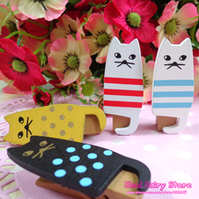 Wholesale Japan Style Lovely Wooden Cat Clip Set, Cute Cat Bag Clip, 4 Designs in 1 set,  80pcs(20sets)/lot For Party Deco