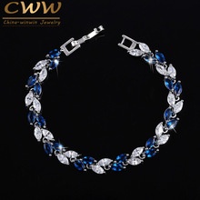 CWWZircons The New 2017 Summer Design White Gold Color Austrian Royal Blue Crystal Bracelets For Women Fashion Jewelry CB133(China)