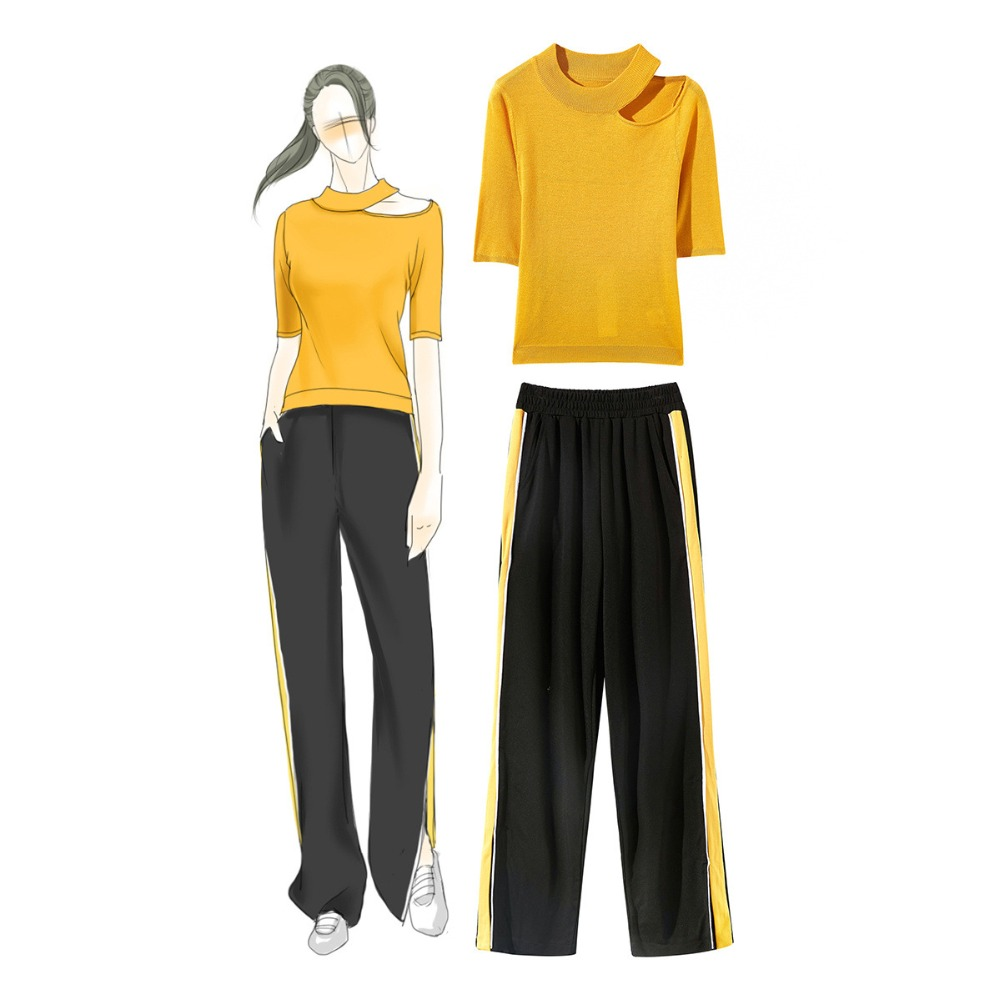 Women summer 2 piece set Chic knitting T shirts casual side stripe pants tracksuit A193